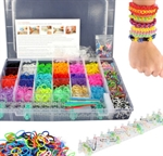Picture of Colourful Rainbow Rubber Loom Bands Bracelet Making Kit Set